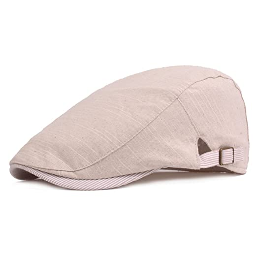 IL Caldo Unisex Spring   Summer newsboy Cap Retro Casual Shading Travel  Linen Cotton Beret Hat 019e7275c40