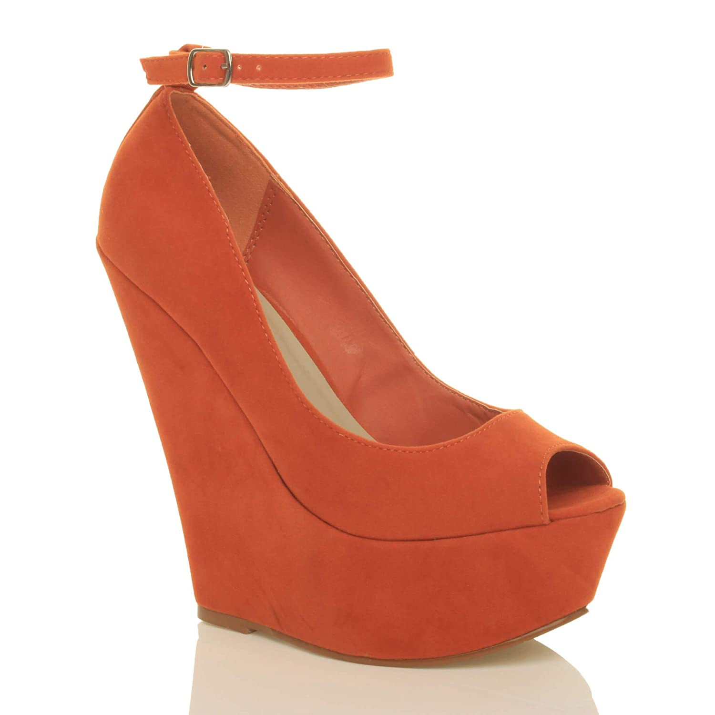 c1de550cda3 Ajvani Womens Ladies high Heel Wedge Platform peep Toe Court Shoes Ankle  Strap Sandals Size