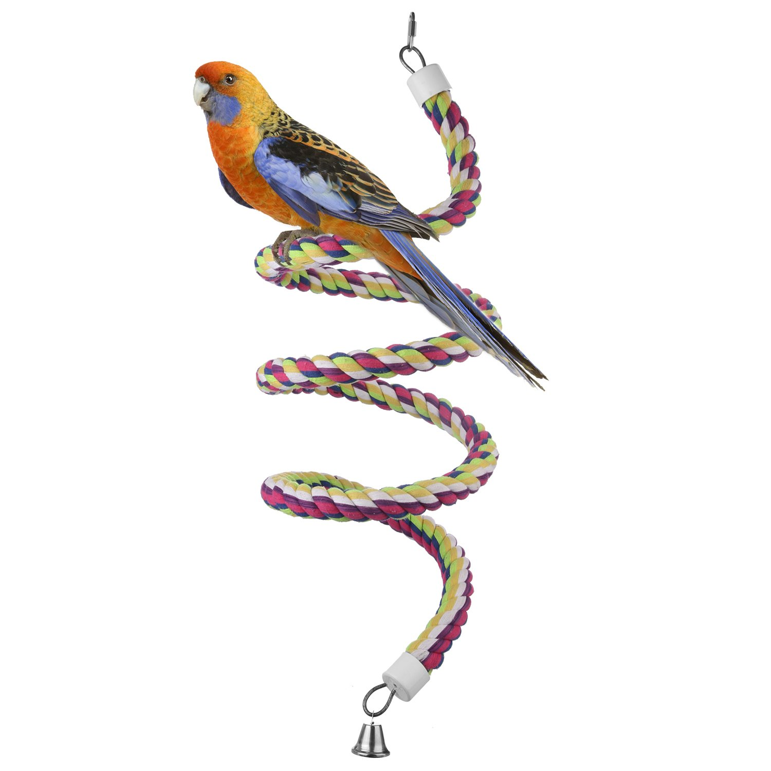 Etrech Bird Toy, Spiral Rope Bungee Perch, Pure Natural Colorful Parrot Swing Toys with Bell (Large) - 98.4Inch