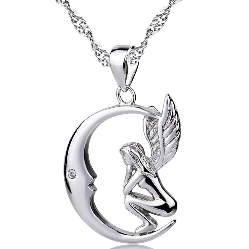 YFN 925 Sterling Silver Angel Wings Crescent Pendant 18'' Necklace