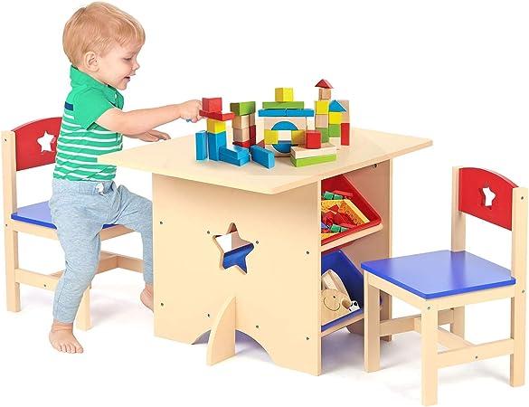 Taylor & - Juego de Mesa de Juegos de Madera para guardería Infantil y 5 sillas Color marrón: Amazon.es: Hogar