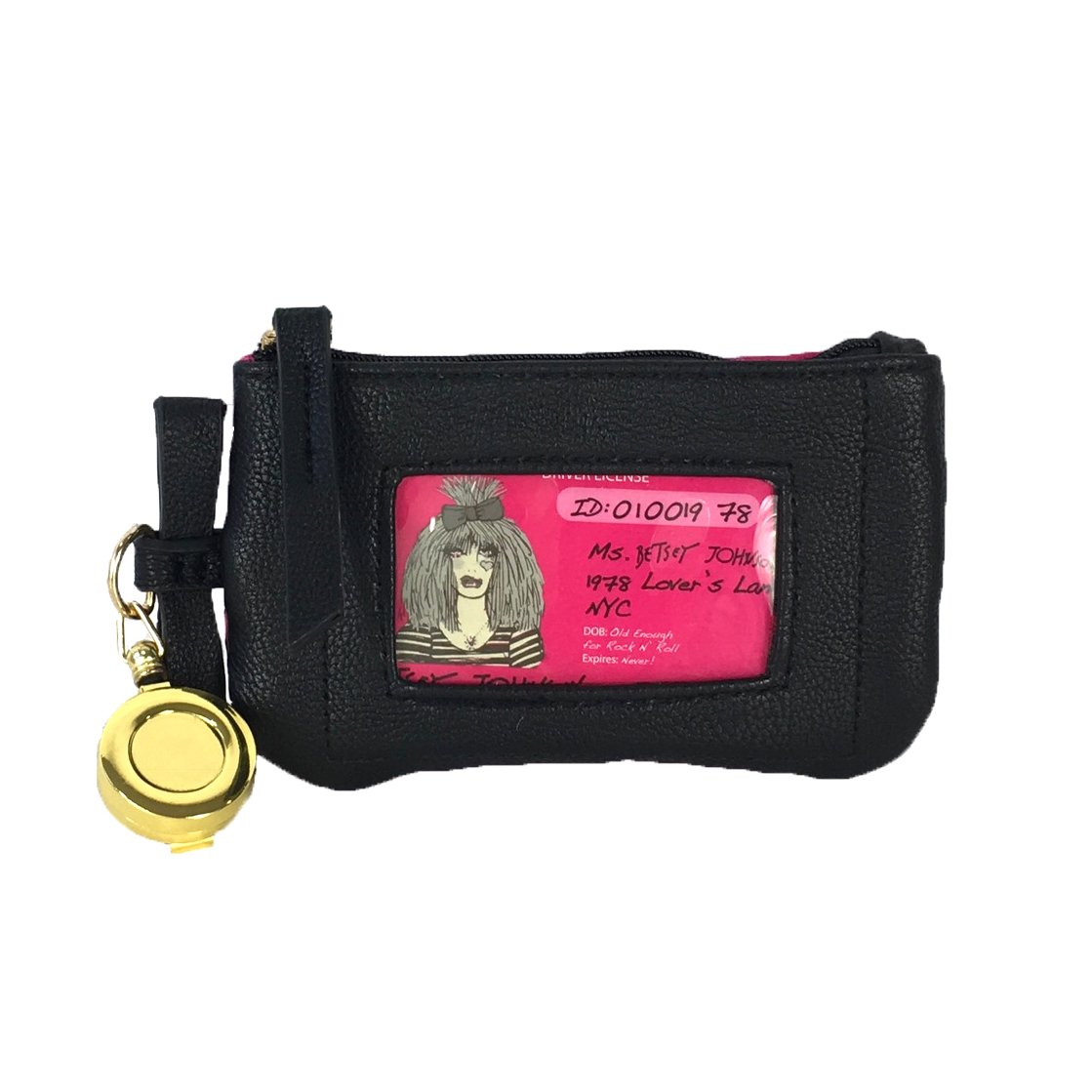 Betsey Johnson Quilted Heart Bow Retractable Lanyard ID Case, Black/Pink