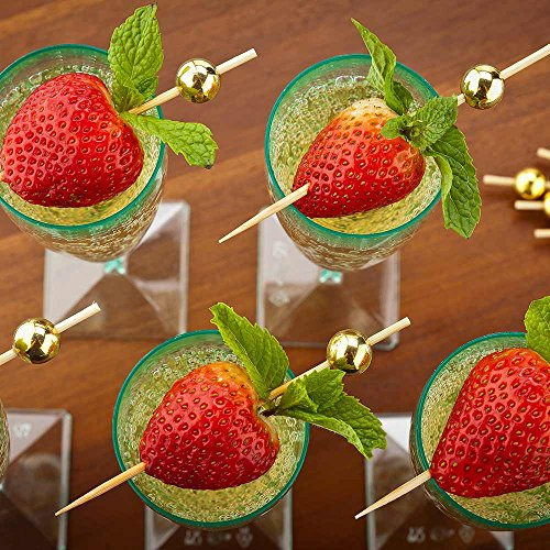 Gold Sphere Pick, Acrylic Gold Ball Skewers, Food Picks, Sticks - 4'' - Perfect for Serving Appetizers and Cocktail Garnishes - Natural Color - 1000ct - Restaurantware by Restaurantware (Image #2)