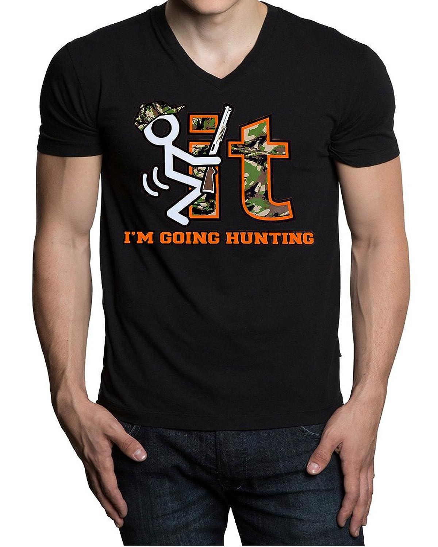 Fcuk It I'm Going Hunting Men's Black V-Neck T-Shirt Black