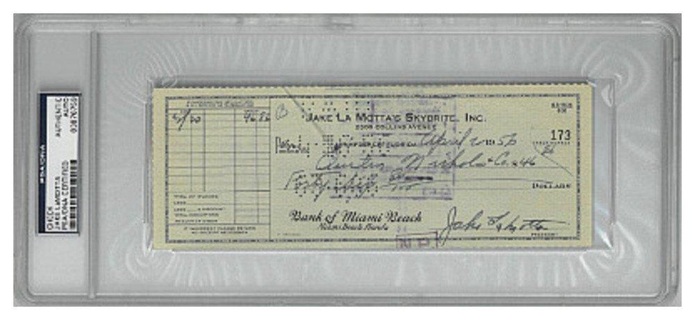 Jake Lamotta Signed Autograph 1956 Cancelled Bank Check PSA Encapsulation #83876759