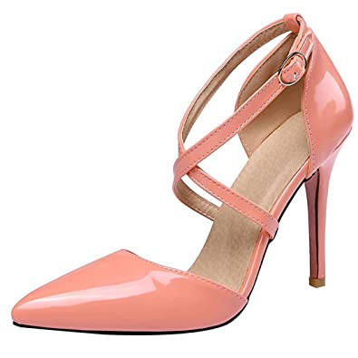 Artfaerie Damen Stiletto High Heels Sandalen Riemchen Pumps mit Schnalle und Spitze Ankle Strap Elegante Hochzeit Schuhe s8dSBzn