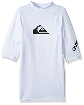 cb35055283 Quiksilver All Time UPF 50 Youth Boys Short-Sleeve Rashguards - White /  Large/
