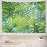 """ASOCO Tapestry Wall Hanging Beautiful Tropical Jungle Floral with Watercolor Palm Leaf Tree Wall Tapestry for Bedroom Living Room Tablecloth Dorm 80"""" WX60 L Inches"""