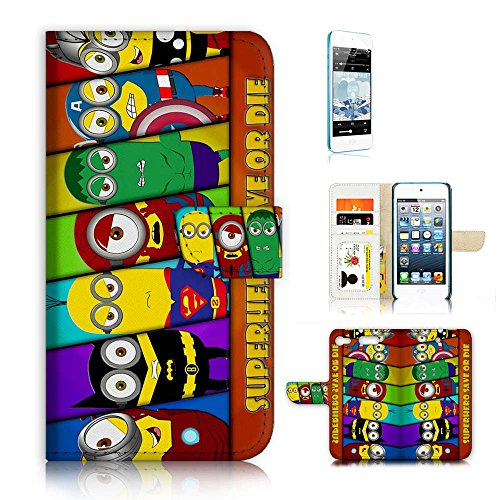 ( For iPod Touch 5 6 / iTouch 5 6 ) Flip Wallet Case Cover & Screen Protector Bundle - A21219 Minion Super Hero