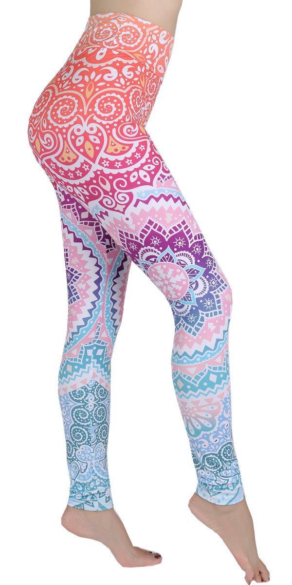 Ndoobiy High Waist Printed Leggings Women's Solid Leggings Soft Yoga Workout Pants Stretchy Capris-HW2(Colorshape OS)