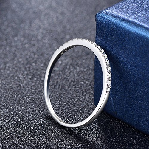 EAMTI 2mm 925 Sterling Silver Wedding Band Cubic Zirconia Half Eternity Stackable Engagement Ring (Silver, 4.5) by EAMTI (Image #2)