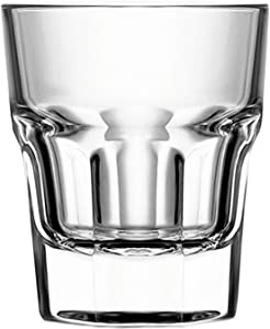 Circleware Scorchers Shot, Set of 6 Heavy Base Glassware Drinking Glass Cups for Whiskey, Vodka, Brandy, Bourbon and Best Selling Liquor Beverage Bar Dining Decor Gifts, 1.5 oz, Clear