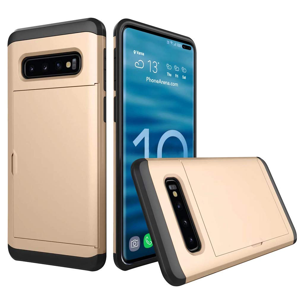Cyhulu Samsung Galaxy Phone S10 Plus Case, Hot New Brushed Hard PC+Silicone Case Cover Card Holder for Samsung Galaxy S10 Plus 6.4 inch, 11 Color Available (Gold, One size)