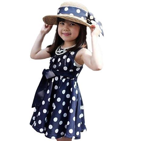 Vestido de fiesta de la princesa Koly Lunares Vestido para niñas (140, Azul)