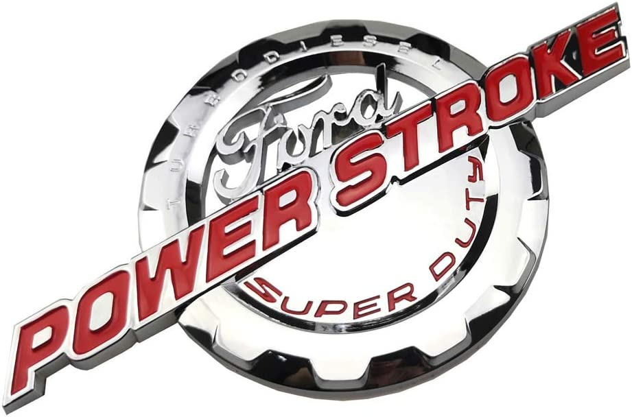 Power Stroke International Diesel Side Fender Emblems 3D Logo 6.0L 6.7L 7.3L Powerstroke Badge Replacement for F150 F250 F350 Chrome Black