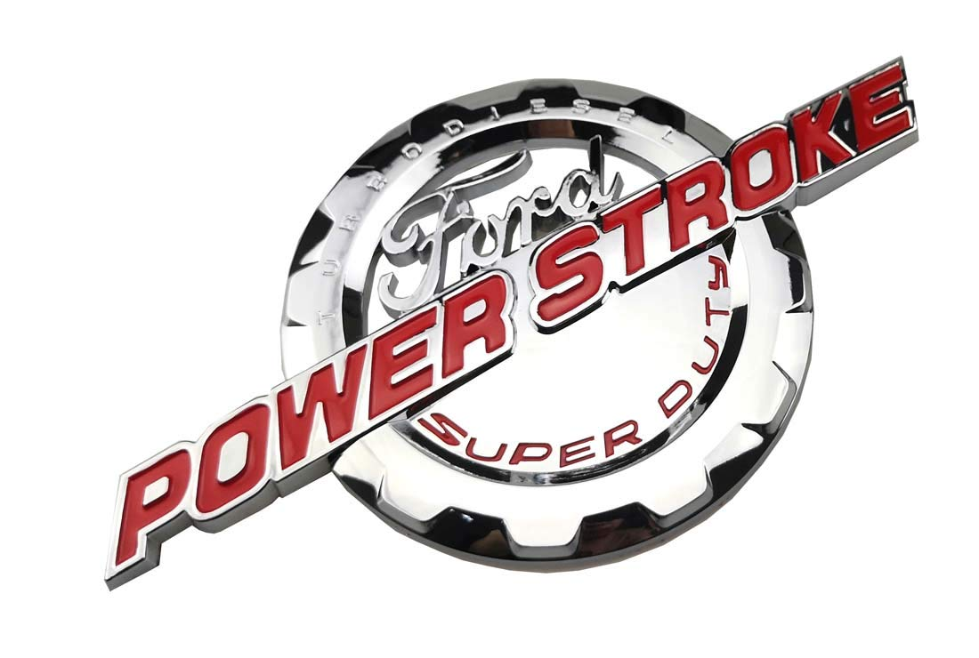 2pcs Chrome Red Power stroke International Diesel Side Fender Emblems 3D logo 6.0L 6.7L 7.3L Powerstroke Badge Compatible for F150 F250 F350