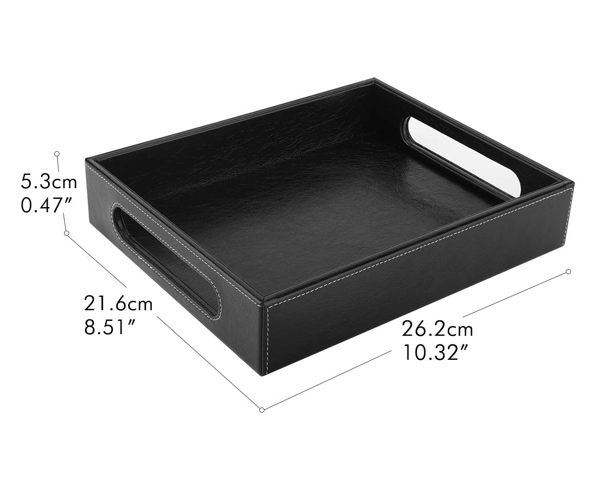 Decorative Catchall Tray Luxspire Valet Tray with Handles Black Countertop Storage Organizer Plate for Kitchen Men Women Jewelry Key Tray PU Leather Serving Tray Bathroom