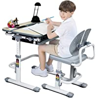 HONEY JOY Kids Desk and Chair Set, Children School Study Table Height w/Pull-Out Storage Drawer and Metal Hook, Height Adjustable & 45°Tilted Desktop, Homework Study Workstation for Girl Boy (Gray)
