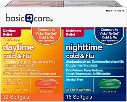 Amazon.com: Amazon Basic Care Cold Flu Relief Multi-Symptom Daytime  Nighttime Combo Pack Softgels; Cold Medicine, 48 Count: Health & Personal  Care