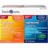Basic Care Cold & Flu Relief Multi-Symptom Daytime/Nighttime Combo Pack Softgels, 48 Count