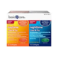 Basic Care Cold & Flu Relief Multi-Symptom Daytime/Nighttime Combo Pack Softgels...