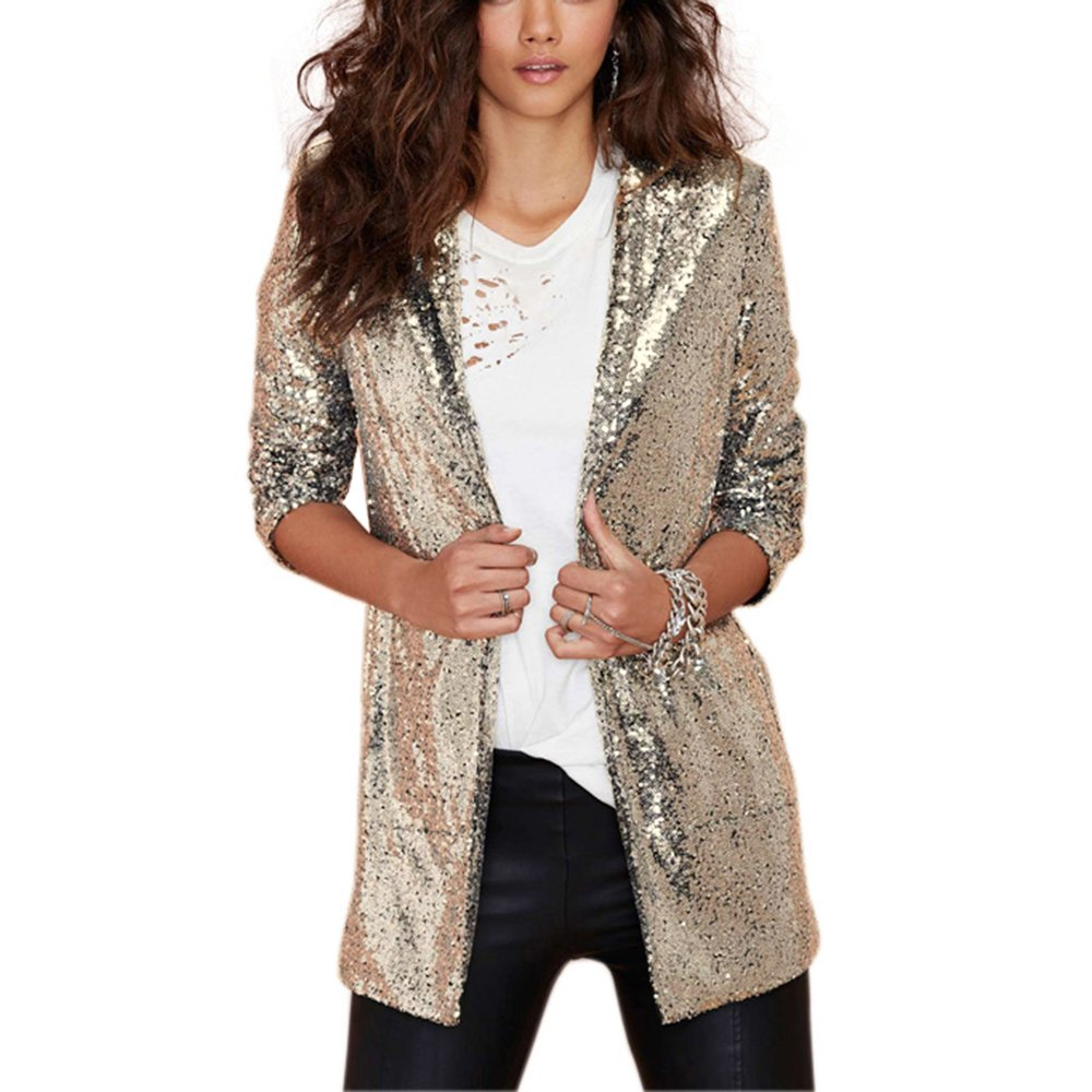 HaoDuoYi Women's Sparkly Sequins Pocket Side Open Front Casual Coat Jacket(XL,Gold)