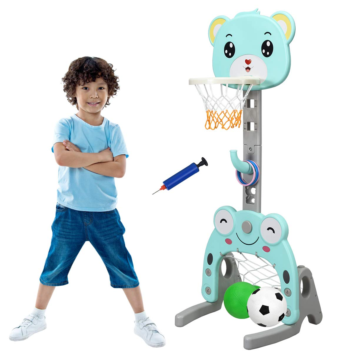 Costzon Basketball Hoop Set Stand, Kids 3-in-1 Sports Activity Center, Adjustable Height 4.7Ft-5.2Ft, Basketball Stand with Darts and Ring Toss Play Set, Best Gift for Kids (Lovely Bear) by Costzon