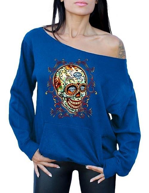 Diamond Sugar Skull Off the Shoulder Tops Pocket Sweatshirt