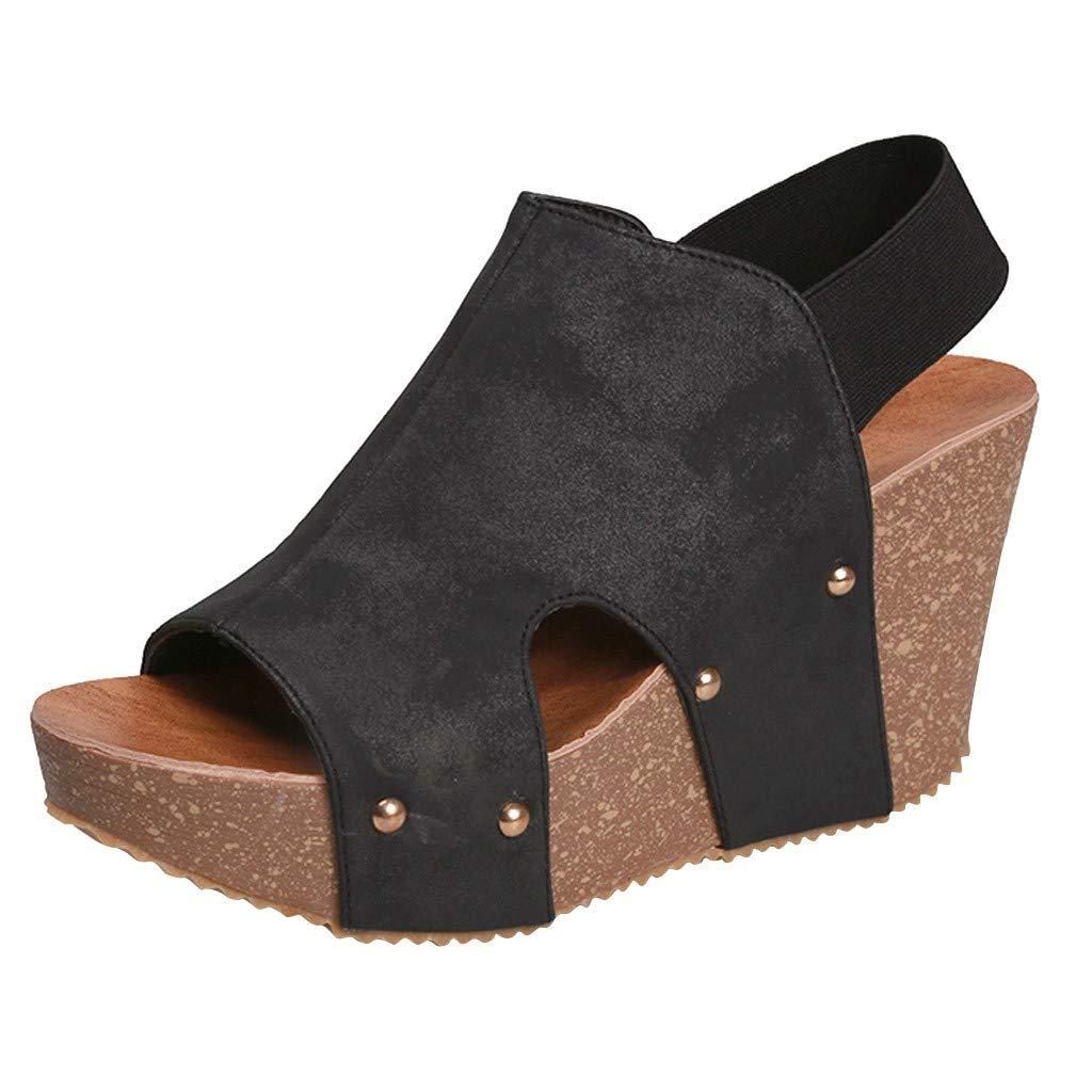 Women's Platform Wedge Open Toe Sandals - Summer Espadrilles Ankle Straps Casual Dress Shoes (Black, Size:40/US:8.0)