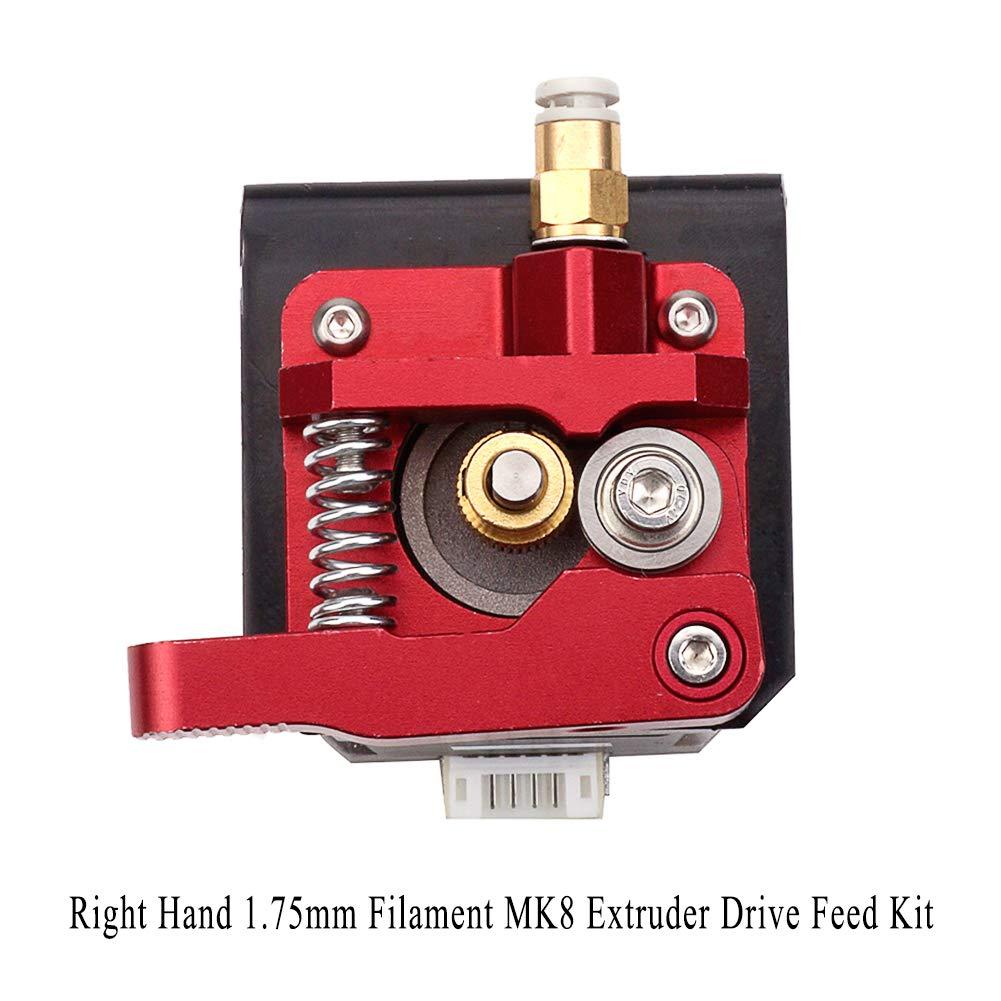Electrely MK8 Extruder 1.75 mm Rechte Hand, Verbesserte Bausatz Aluminium MK8-Extruder Ersatz fü r Creality CR-10, CR-10s, CR-10 S4 und CR-10 S5 (Rot)