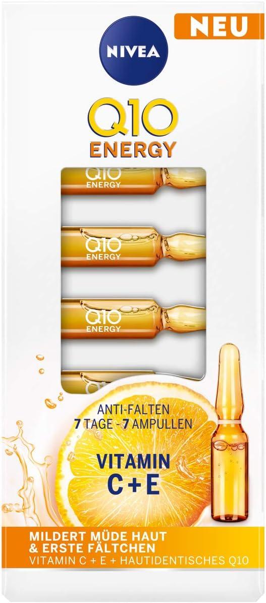 Nivea Q10 ENERGY Antiarrugas 7 días – 7 ampollas (7 x 1 ml), tratamiento facial con 100% piel Q10, vitamina C y vitamina E, cuidado facial mitiga las arrugas y piel cansada.