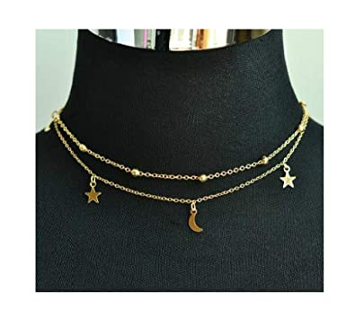 26e16cdc484c66 Amazon.com: Luccaful 2 Layer Star Moon Choker Necklace Nice Gift For Women  Girl gold 40cm: Jewelry