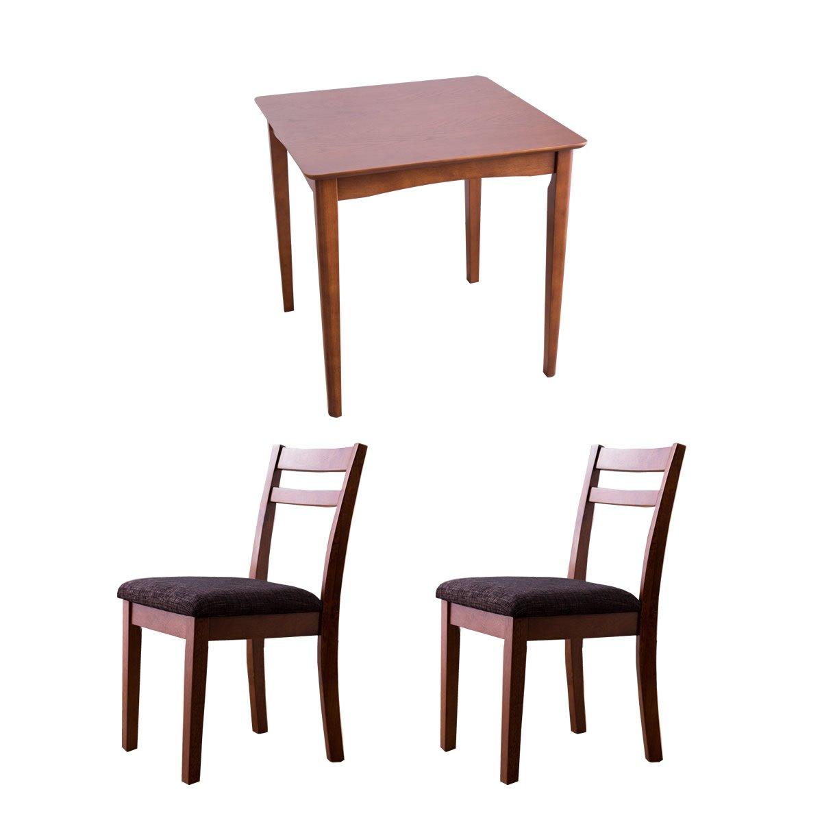 ダークブラウン/ダークブラウン/2人用 ダイニングセット テーブル チェア 天然木 シンプル コンパクト おしゃれ 北欧風 ナチュラル B075LB4HDP Parent ダークブラウン/ダークブラウン