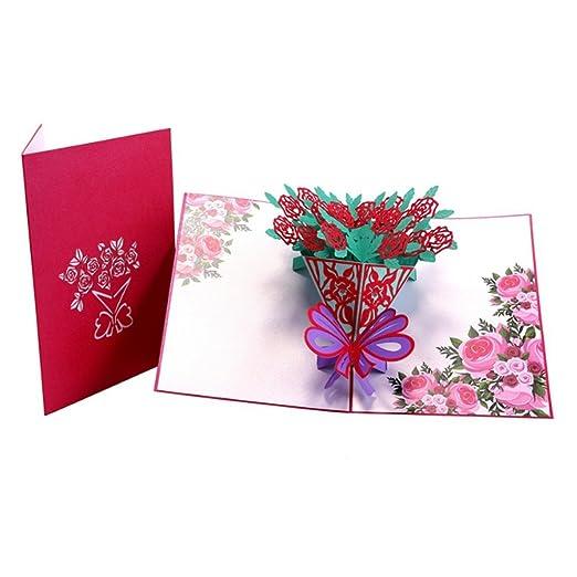 Fogun 3D Rosa Pop Up Tarjetas Papel Regalo Cumpleaños ...