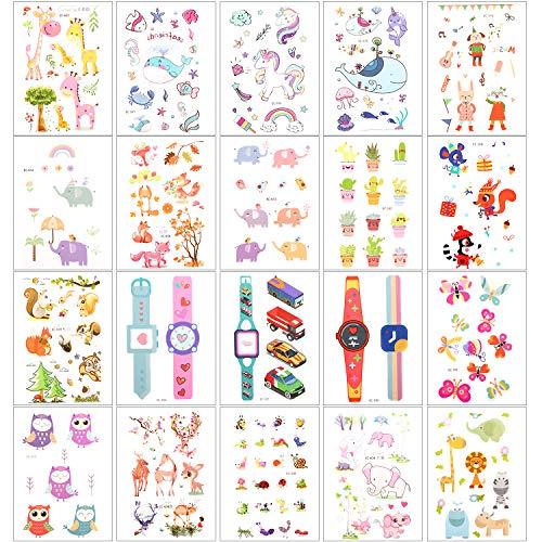 Zooawa Kids Cartoon Temporary Tattoos, [20Sheet] Boys Girls Cute Fake Sticker Tattoos Including Animal Plant Watch Patterns, -