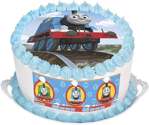Thomas the Tank Engine Cumpleaños Redondo Comestible Cake Topper Decoración Personalizada