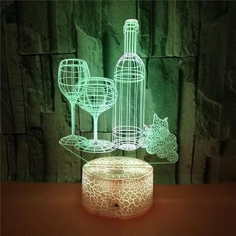 Lámparas de 3D LED cerca de luz, 7 colores, control táctil ...