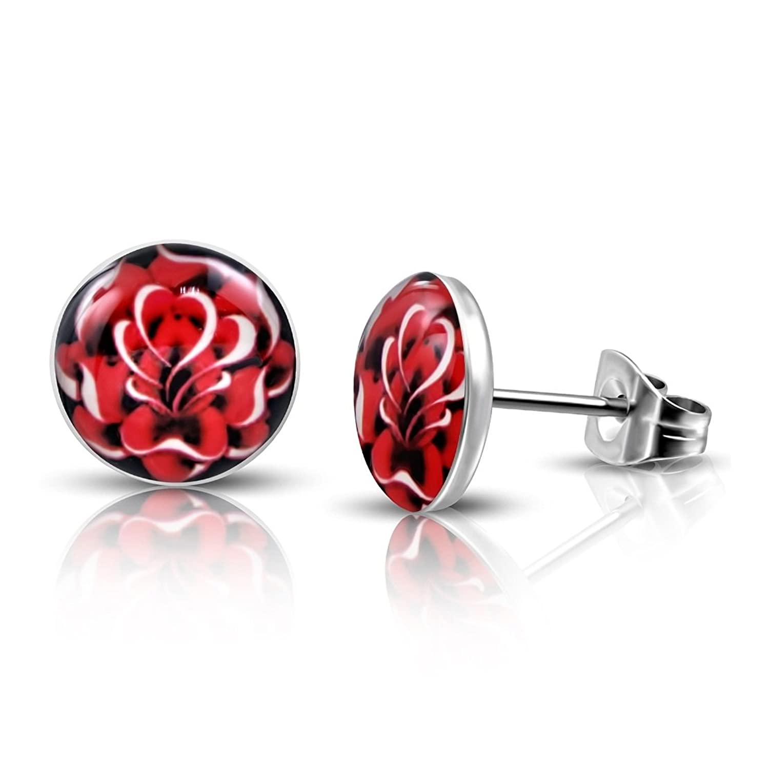 Stainless Steel 4 Color Rose Flower Circle Stud Earrings (pair)
