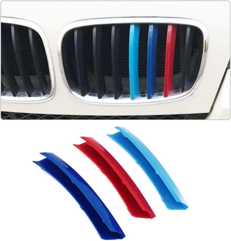 Longzhimei Fit for BMW X5 F15 2014 2015 2016 M-Colored Front Grille Insert Trim Strips Grill Cover 3Pcs 7 Grilles