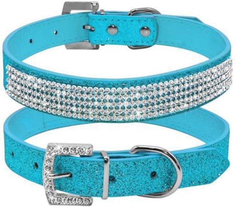 collares bonitos para perros con diamantes color azul