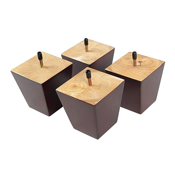 """Action Club 4inch Sofa/Chair/Ottoman Wood Tapered Furniture Leg Square Pyramid 5/16"""" Bolt, Set of 4 (4inch)"""