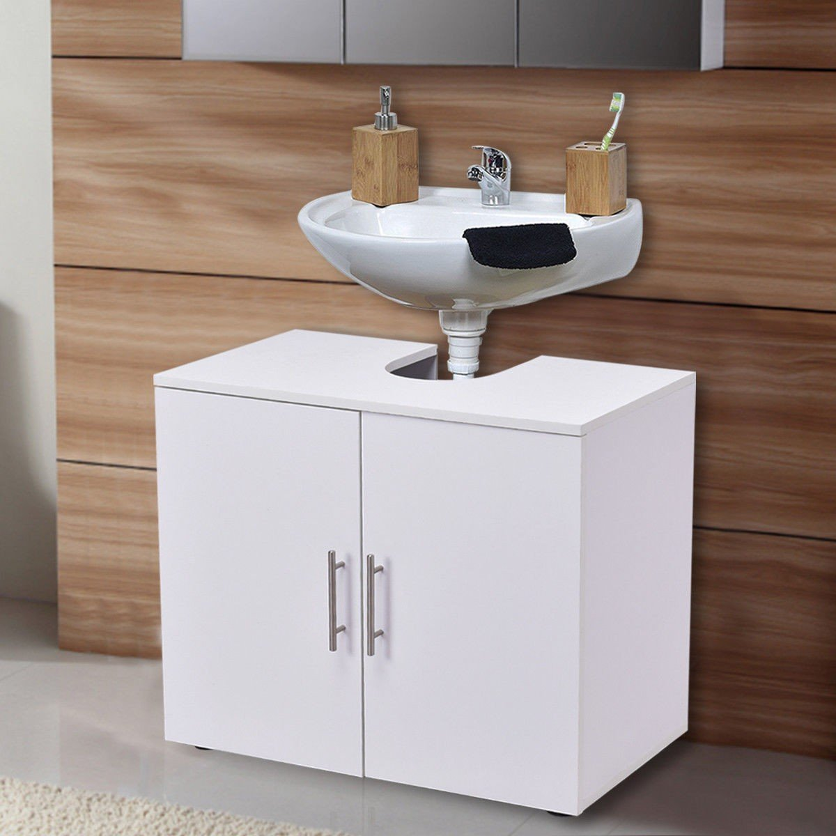 Storage Vanity Cabinet Bathroom Non Pedestal Under Sink Wall Mounted White Wood Furniture MD Group by MD Group (Image #2)