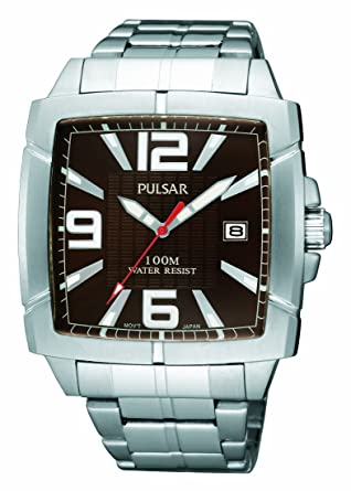 dec5b816394 Pulsar Men s PXH701 Sport Square Brown Dial Stainless Steel Bracelet Watch   Amazon.co.uk  Watches