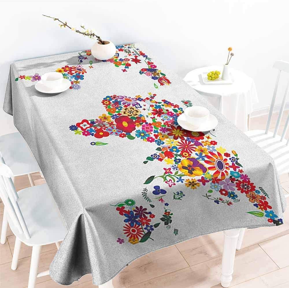 EwaskyOnline Custom Tablecloth,Floral World Map Bunch of Flower Petals Essence Fragrance Garden Growth Theme Atlas Image,Table Cover for Kitchen Dinning Tabletop Decoratio,W54x72L, Multicolor