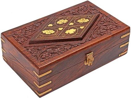 Bo/îte en bois rectangulaire avec incrustations en laiton