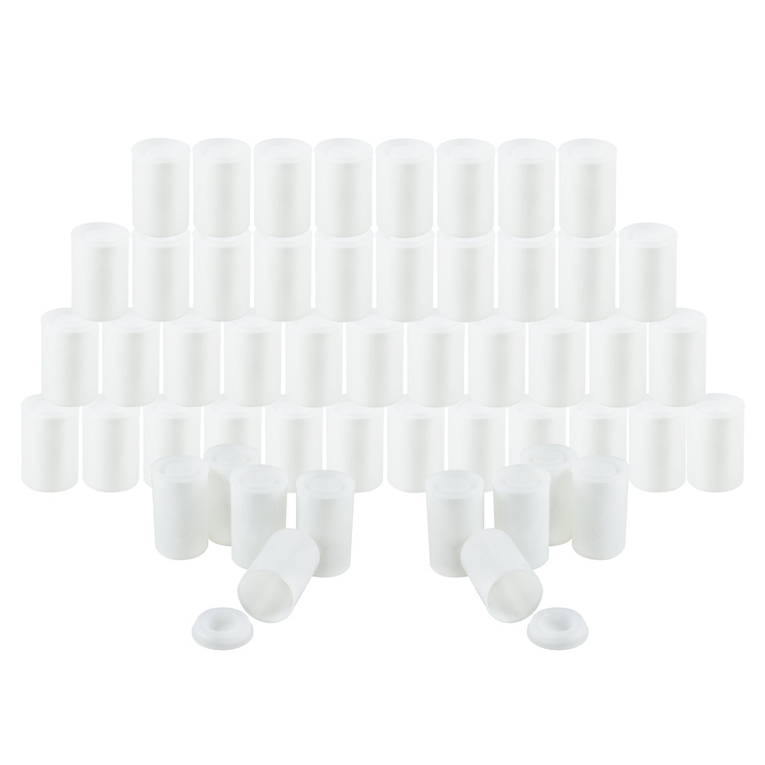 Houseables Film Canister, 35MM Empty Camera Reel Containers, 60 Pack, White, 2' H, 1' W, Plastic, Films Developing Processing Tube, Roll Case, With Caps, For Small Accessories, Beads, Alka Seltzer 2 H 1 W FiCa60