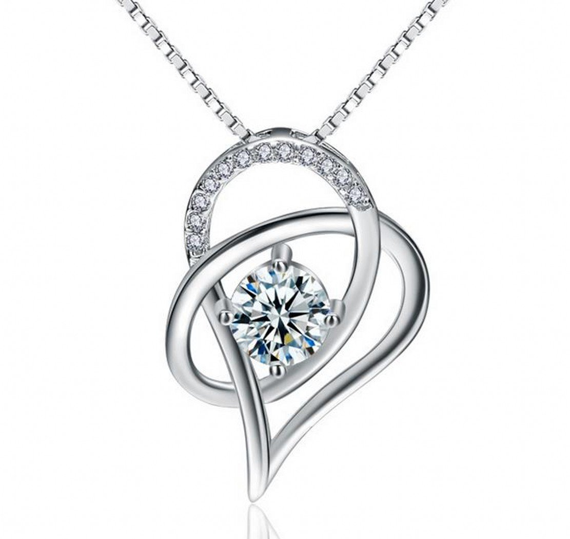Silver Masters 925 Sterling Silver Forever Lover Heart Pendant Necklace
