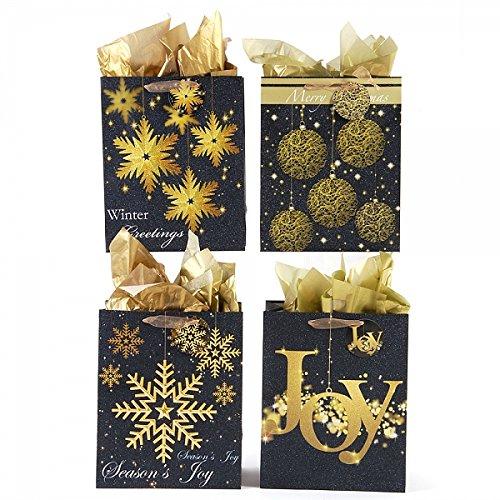 """FLOMO Large """"Glittering Gold"""" Glitter Christmas Gift Bags (12 Pack) bags to go, christmas gift bags, unique gift bags, gift bags, gift bags bulk, gift bags ..."""