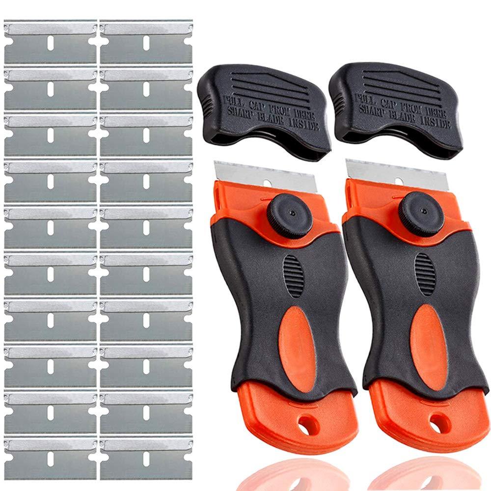 Rascador Vitrocer/ámica Rascador Vidrio con 20Pcs Cuchillas de Acero de Soltero Filo QitinDasen 2Pcs Premium 1.5 Mini Raspador de Mango de Maquinilla con Tapa de Seguridad