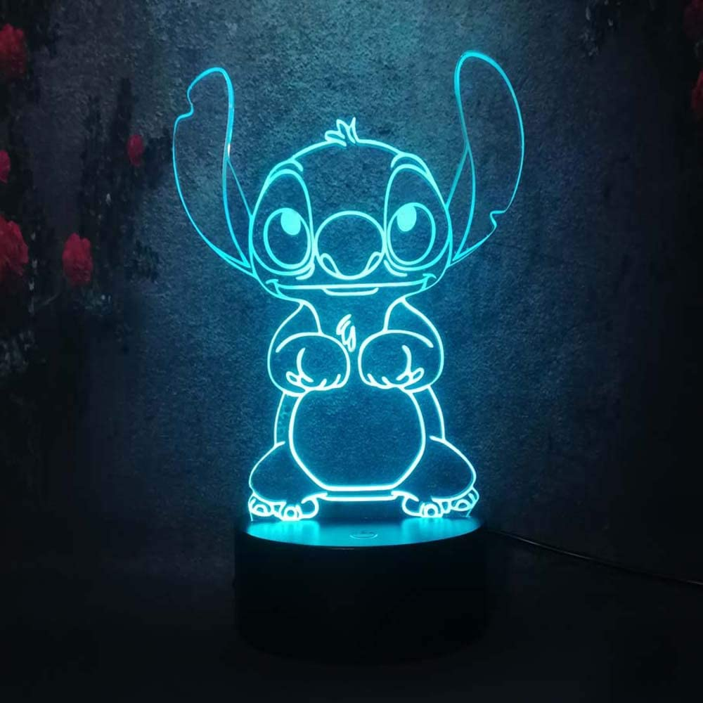 Cute Cartoon Stitch 3D Night Light 7 Colors Led Lamp USB Remote Touch Baby Room Bedroom Table Light Kids Christmas Gift - - Amazon.com